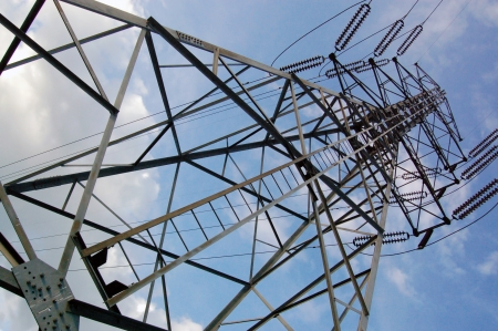 The Pylon deliver high voltage electricity  Stock Photo