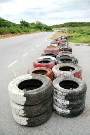 The tyre for accident buffering in racing track  Stock Photo