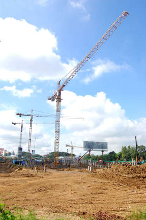 4 big cranes are working in mega project construction site Stock Photo - 16421319