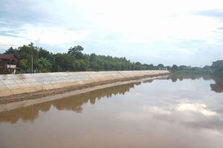 land slide: The concrete pile sheet to prevent land slide just finish construction