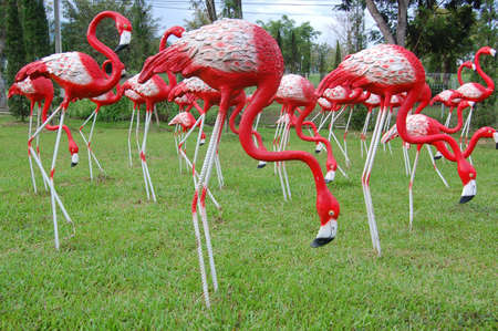 the stucco of flamingoes on the yard Stock Photo - 16421321