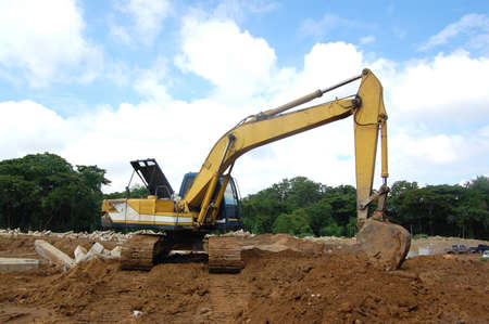 Bulldozer is on duty in construction site  Stock Photo