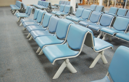 Blue soft seat in airport Editorial