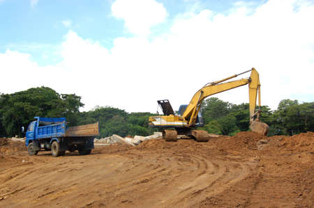 dredging tools: excavator is on duty in construction site