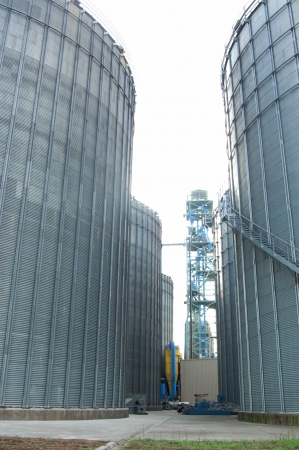 The storage silo for animal feed after mixing in factory.