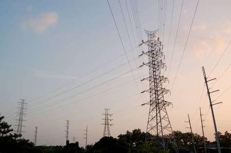 The big pylons on sunset background