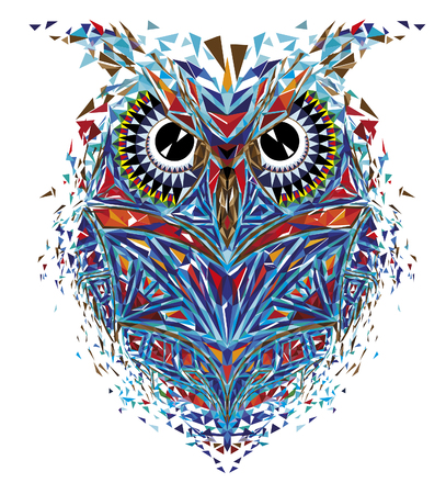 Kaleidoscopic owl in blue-orange tones Illustration