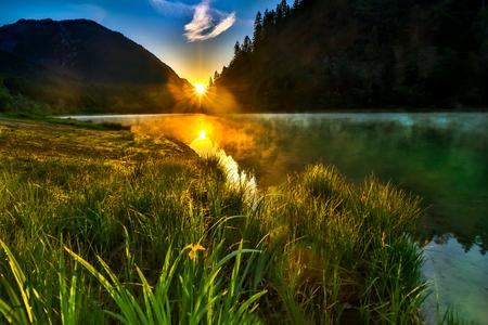 Sunrise at the mountain lake Stock fotó