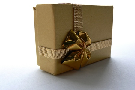 fancy box: Brown Giftbox with Golden Ribbon Stock Photo