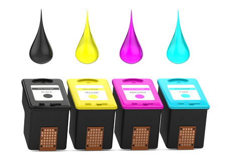 Cartridges for inkjet printer with CMYK paint drops. 3D Illustration isolated on white background