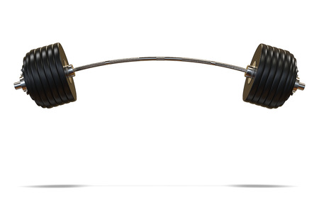 Bent or curved black barbell for strength training. 3D Illustration isolated on white background