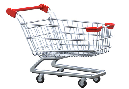 mart: Perspective view empty shopping cart. 3D render isolated on white background
