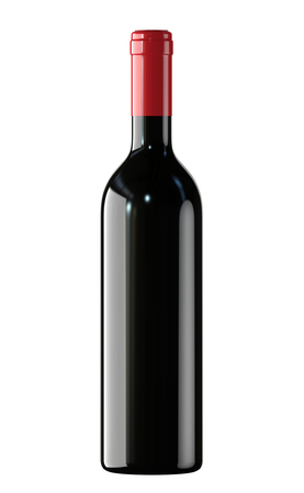 Red Wine bottle. 3D render, isolated on white background. Stock fotó