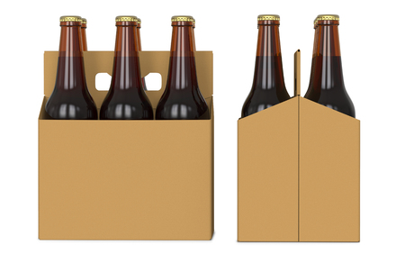 Six brown beer bottles in white corton pack. Side view and front view. 3D render, isolated on white background Stock Photo