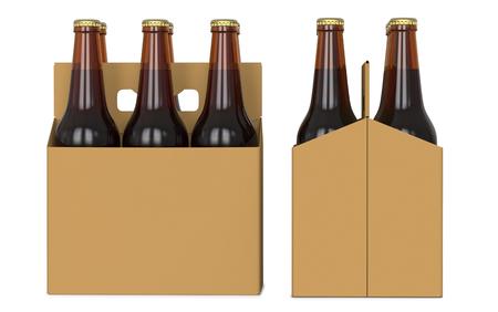 Zes bruine bierflessen in wit cortonpak. Zijaanzicht en vooraanzicht. 3D render, geïsoleerd op een witte achtergrond Stockfoto