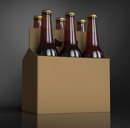 段ボール箱に六つの茶色ビール瓶のクローズ アップ。3 D レンダリング、スタジオ ライト、暗い灰色のスポットの背景