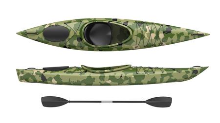 Top and side views of green crossover kayak. Whitewater and river running kayak. 3D render, isolated on white background