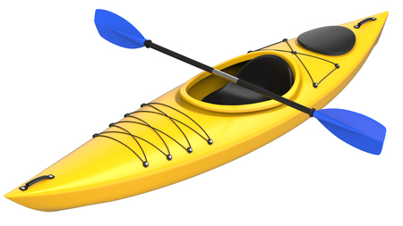 Yellow plastic kayak with blue paddle. 3D render, isolated on white background