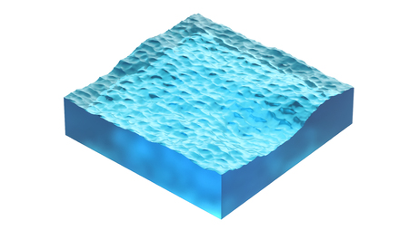 Aqua cube of ocean or sea water. 3d Illustration, isolated on white background