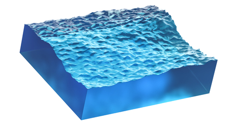 Cross section of wave with blue clean water. Realistic 3d illustration isolated on white background