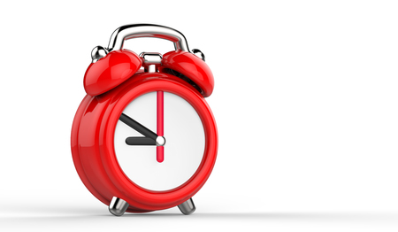 Cartoon red alarm clock. 3d Illustration, isolated on white background