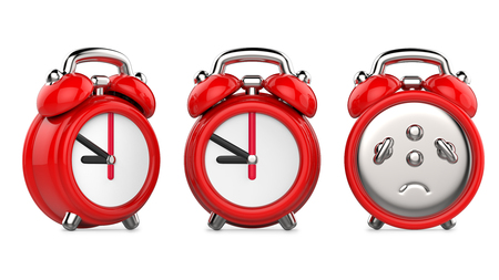 Three views of carttom red alarm clock. 3d Illustration, isolated on white background Stock Photo