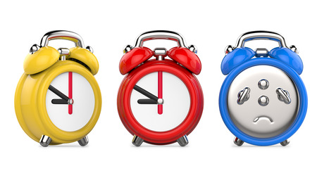 Three colorful, red, blue, yellow alarm clocks. 3d Illustration, isolated on white background