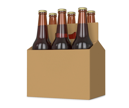 Six pack of glass bottled beer in generic brown cardboard carrier 3d Illustration, isolated on white background