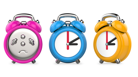 Three colorful, purple, blue, orange alarm clocks. 3d Illustration, isolated on white background