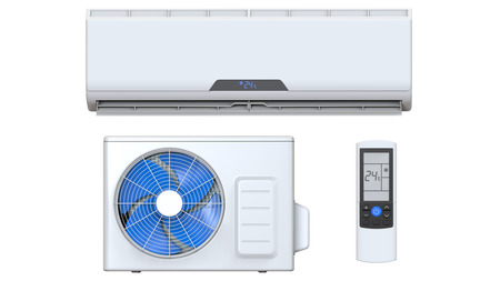 expel: Air conditioner system set with remote control and external unit. 3D render, isolated on white background
