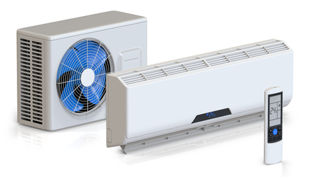 condenser: Air conditioner system set with remote control and external unit. 3D render, isolated on white background