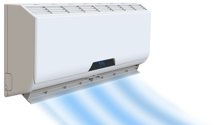 Air conditioning, cooling breeze blows cold. 3D render, on white background