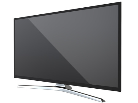 Frontal view of TV or computer PC monitor display led or lcd, isolated on white background 3d render.