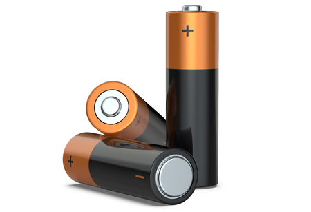 Three batteries on a white background, 3D render.