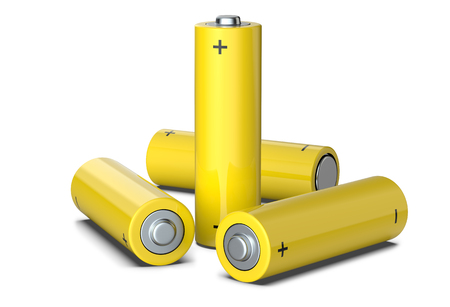 Group of yellow AA size batteries isolated on white, 3D render Stock Photo