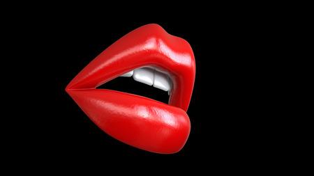sexy mooie vrouwelijke gesloten lippen of mond rode kleur met glans of lippenstift, 3d render geïsoleerd op zwarte achtergrond. Stockfoto