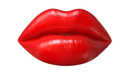 Womans lips with red lipstick and kiss gesture, 3D render isolated on white background Stock Photo