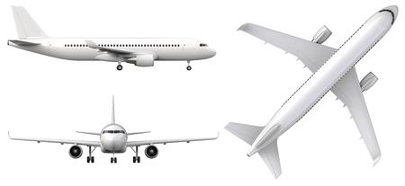 Avion blanc haute détaillée, rendu 3d sur fond blanc. Avion de profil, de la vue de face et de dessus isolé illustration 3d Airline Concept Voyage Avions de passagers mis. Jet avion commercial
