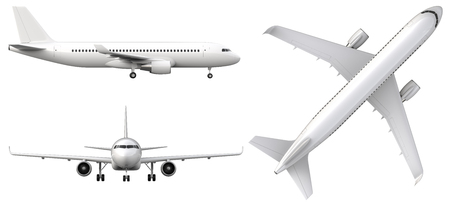High detailed white airplane, 3d render on a white background. Airplane in profile, from the front and top view isolated 3d illustration Airline Concept Travel Passenger planes set. Jet commercial airplane