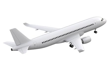 Flugzeug lokalisiert auf weißem Hintergrund - Wiedergabe 3D Standard-Bild - 86680865