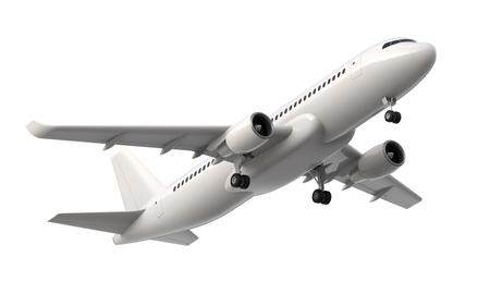 높은 상세한 흰색 여객기, 흰색 배경에 3d 렌더링. 비행기 이륙, 고립 된 3d 일러스트입니다. 항공사 개념 여행 여객기입니다. 제트 상용 비행기
