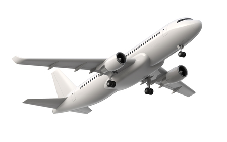 High detailed white airliner, 3d render on a white background. Airplane Take Off, isolated 3d illustration. Airline Concept Travel Passenger plane. Jet commercial airplane Foto de archivo