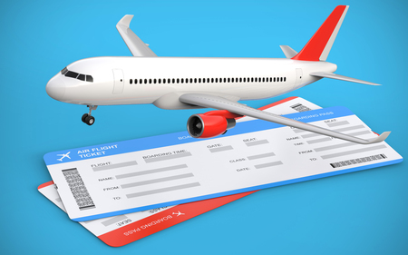 3d illustration of two airline, air flight tickets with airplane, airliner on the blue background