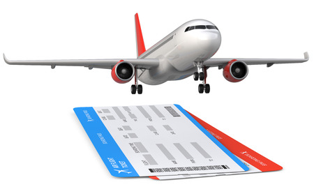 Commercial airplane, airliner with two airline, air flight tickets . Passenger plane take Off, 3d render isolated on white background.