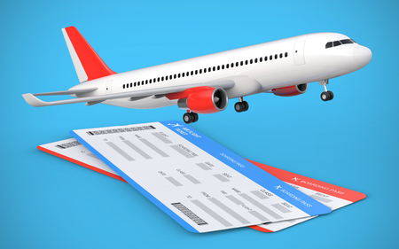 boarding card: 3d render of two airline, air flight tickets with airplane, airliner on the blue background.