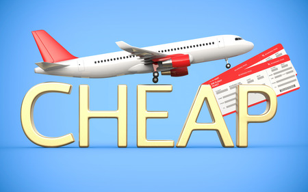 jetliner: 3d render airline, air tickets with airplane, airliner and gold text is cheap, on the blue background. Symbolizing cheap flight tickets.