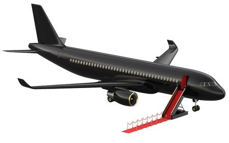 Zwarte reactieve privéjet. Witte privéjet en open ladder, rode loper bij de luchthaven. 3D-rendering isometrische illustratie. Zakelijke luchtvaartmaatschappijen Stockfoto