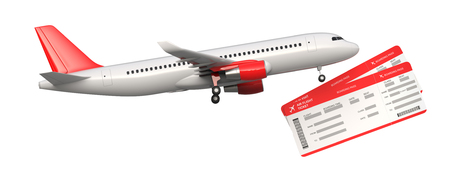 Side view of commercial airplane, airliner with two airline, air flight tickets . Passenger plane take Off, 3D rendering isolated on white background. With space for text. Stock Photo