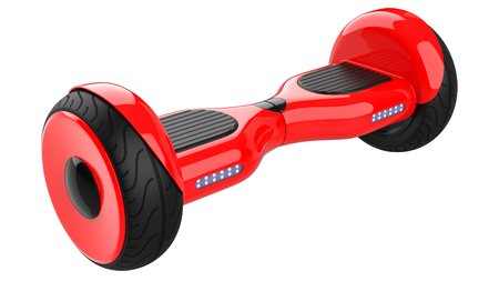 Red Hoverboard, Close Up of Dual Wheel Self Balancing Electric Skateboard Smart Mini Scooter. 3d rendering of self-balancing board, isolated on white background