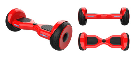 Three view of red Self Balancing Scooters. Kit set of Dual Wheel Hoverboard Electric Skateboard Smart Mini Scooter. 3d rendering of self-balancing board, isolated on white background.